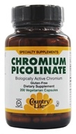 Country Life - Chromium Picolinate 200 mcg. - 200 Vegetarian Capsules Formerly Biochem - $11.99