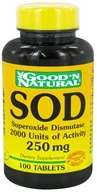 Good 'N Natural - SOD Superoxide Dismutase 2000 Units of Activity 250 mg. - 100 Tablets (074312425622)