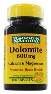 Good 'N Natural - Dolomite Calcium & Magnesium 600 mg. - 100 Tablets - $2.78