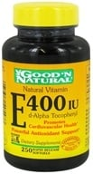 Good 'N Natural - Natural Vitamin E d-Alpha Tocopheryl 400 IU - 250 Softgels, from category: Vitamins & Minerals