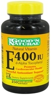 Good 'N Natural - Natural Vitamin E d-Alpha Tocopheryl 400 IU - 250 Softgels by Good 'N Natural