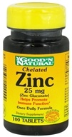 Good 'N Natural - Chelated Zinc (Zinc Gluconate) 25 mg. - 100 Tablets