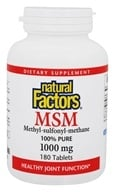 Natural Factors - MSM (Methyl-sulfonyl-methane) 1000 mg. - 180 Tablets by Natural Factors