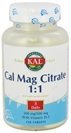 Kal - Cal Mag Citrate 1:1 500 mg/500 mg With Vitamin D-2 - 120 Tablets