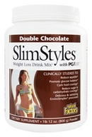 Image of Natural Factors - SlimStyles Weight Loss Drink Mix with PGX Double Chocolate - 28 oz.