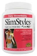 Natural Factors - SlimStyles Weight Loss Drink Mix with PGX Very Strawberry - 28 oz.