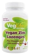 VegLife - Zinc Lozenges 100% Vegan Cherry - 50 Lozenges