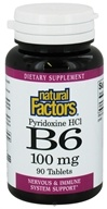 Natural Factors - Vitamin B6 Pyridoxine HCl 100 mg. - 90 Tablets - $5.97