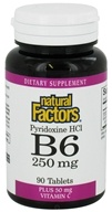 Natural Factors - Vitamin B6 Pyridoxine HCl 250 mg. - 90 Tablets, from category: Vitamins & Minerals