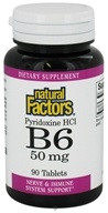Image of Natural Factors - Vitamin B6 Pyridoxine HCl 50 mg. - 90 Tablets CLEARANCE PRICED