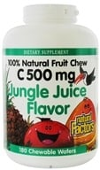 Image of Natural Factors - 100% Natural Fruit Chew C Jungle Juice 500 mg. - 180 Chewable Wafers