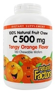 Natural Factors - 100% Natural Fruit Chew C Tangy Orange 500 mg. - 180 Chewable Wafers (068958013312)