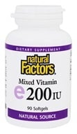 Natural Factors - Vitamin E Mixed 100% Natural Source 200 IU - 90 Softgels - $7.77