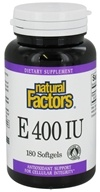 Natural Factors - Vitamin E 100% Natural Source 400 IU - 180 Softgels by Natural Factors