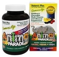 Nature's Plus - Animal Parade Assorted Cherry, Orange, & Grape - 180 Chewable Tablets (097467299825)
