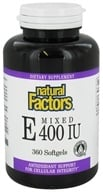 Natural Factors - Vitamin E Mixed 100% Natural Source 400 IU - 360 Softgels by Natural Factors