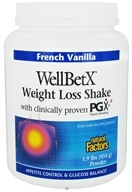 Image of Natural Factors - WellBetX Weight Loss Shake with PGX French Vanilla - 1.9 lbs.