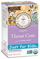 Traditional Medicinals - Just for Kids Organic Throat Coat Tea - 18 Tea Bags (032917001870)