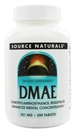 Source Naturals - DMAE Dimethylaminoethanol Bitartrate 351 mg. - 200 Tablets