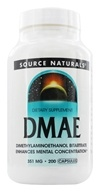 Source Naturals - DMAE 351 mg. - 200 Capsules, from category: Nutritional Supplements