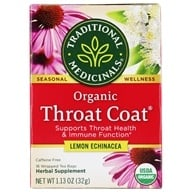 Traditional Medicinals - Lemon Echinacea Throat Coat Tea - 16 Tea Bags (032917001597)