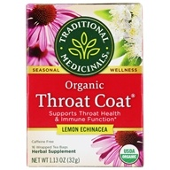 Traditional Medicinals - Lemon Echinacea Throat Coat Tea - Supports Throat Health - 16 Tea Bags, from category: Teas