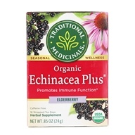 Traditional Medicinals - Organic Echinacea Elder Tea - Supports the Immune System - 16 Tea Bags