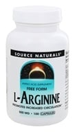 Source Naturals - L-Arginine Free Form 500 mg. - 100 Capsules