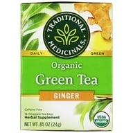 Traditional Medicinals - Organic Green Tea with Ginger - 16 Tea Bags (032917001498)