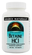 Source Naturals - Betaine HC1 Hydrochloric Acid Source 650 mg. - 90 Tablets