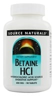 Source Naturals - Betaine HC1 Hydrochloric Acid Source 650 mg. - 90 Tablets by Source Naturals