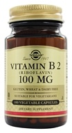 Solgar - Vitamin B2 (Riboflavin) 100 mg. - 100 Vegetarian Capsules, from category: Vitamins & Minerals