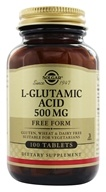 Image of Solgar - L-Glutamic Acid Free Form 500 mg. - 100 Tablets