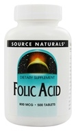 Source Naturals - Folic Acid 800 mcg. - 500 Tablets - $11.51