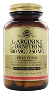 Solgar - L-Arginine L-Ornithine Free Form 500 mg/250 mg - 100 Vegetarian Capsules, from category: Nutritional Supplements