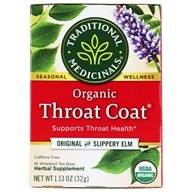 Organic Throat Coat Herbal Tea Original with Slippery Elm - 16 Tea Bags