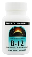 Source Naturals - Vitamin B-12 Sublingual 2000 mcg. - 50 Tablets by Source Naturals