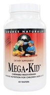 Source Naturals - Mega-Kid Chewable Multi-Vitamin For Children Ages 2-10 Natural Berry - 60 Chewable Wafers (021078017943)