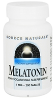 Image of Source Naturals - Melatonin 1 mg. - 200 Tablets CLEARANCED PRICED