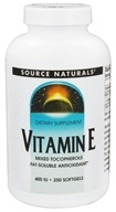 Source Naturals - Vitamin E 400 IU - 250 Softgels Formerly D-Alpha-Tocopherol