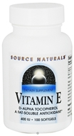 Source Naturals - Vitamin E 100% Natural D-Alpha-Tocopherol 400 IU - 100 Softgels, from category: Vitamins & Minerals