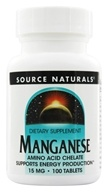 Source Naturals - Manganese Amino Acid Chelate 15 mg. - 100 Tablets - $3.71