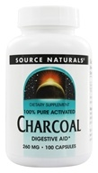 Image of Source Naturals - 100% Pure Activated Charcoal 260 mg. - 100 Capsules