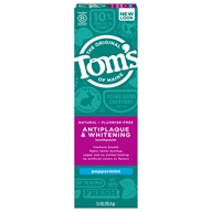 Image of Tom's of Maine - Natural Toothpaste Antiplaque & Whitening Fluoride-Free Peppermint - 5.5 oz.
