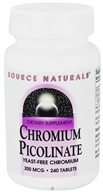 Source Naturals - Chromium Picolinate Yeast-Free 200 mcg. - 240 Tablets (021078001089)