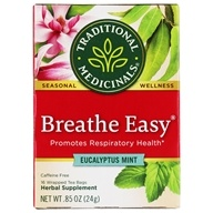 Image of Traditional Medicinals - Breathe Easy Tea - Promotes Respiratory Health - 16 Tea Bags