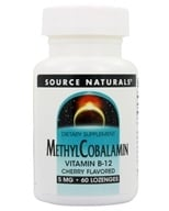 Image of Source Naturals - MethylCobalamin Vitamin B-12 Sublingual Cherry 5 mg. - 60 Tablets
