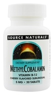 Source Naturals - MethylCobalamin Vitamin B-12 Sublingual Cherry 5 mg. - 30 Tablets