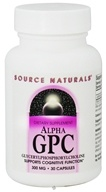 Source Naturals - Alpha GPC Glycerylphosphorylcholine 285 mg. - 30 Capsules - $16.81