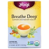 Yogi Tea - Breathe Deep Organic Respiratory Support Tea Caffeine Free - 16 Tea Bags (076950450042)